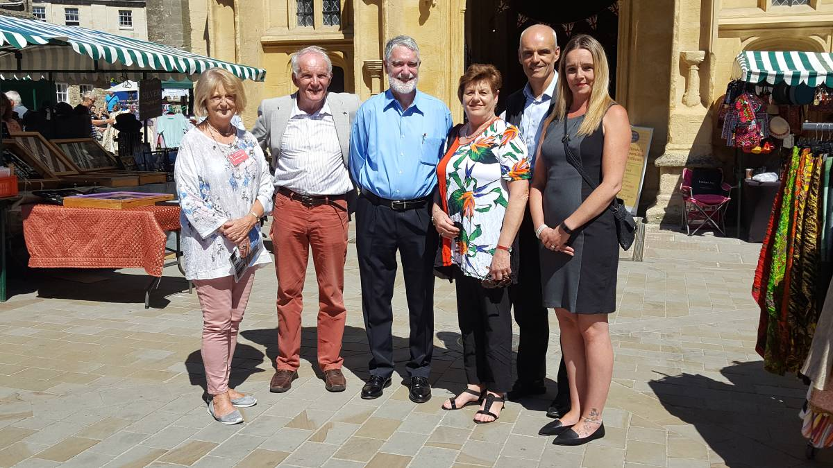 A LOOK AROUND: Corinne Lamus, Cirencester mayor Nigel Robbins, Bathurst's Andrew Prior and Denise Garland, Simon King and Councillor Claire Wardell.