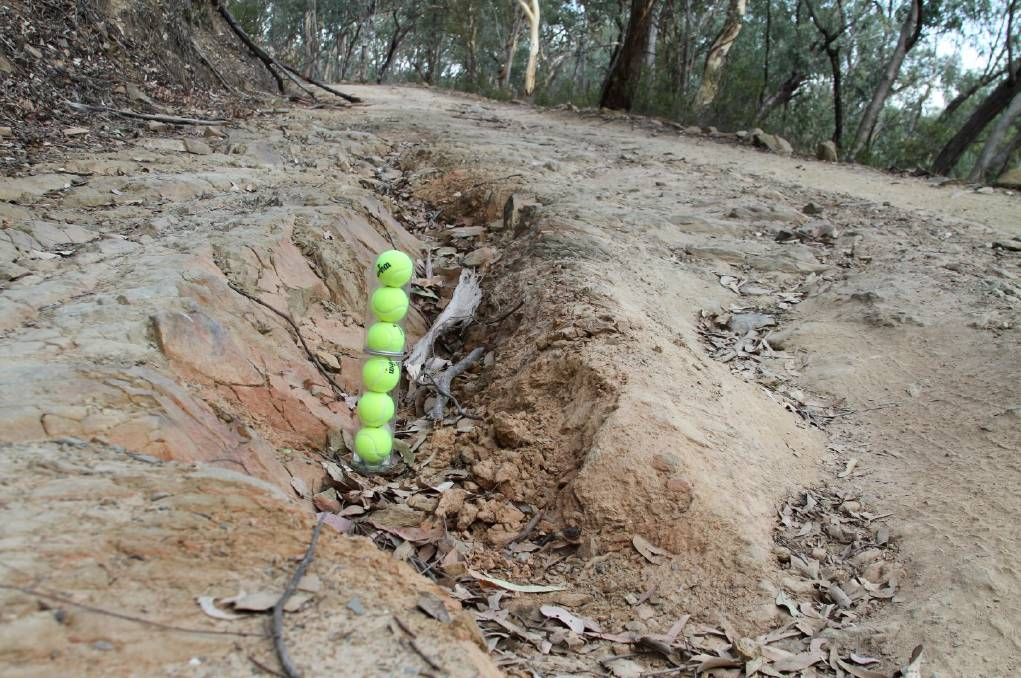 DEEP PROBLEMS: The Bridle Track Action Group has previously used tennis balls to show the poor state of the road. Photo: SUPPLIED