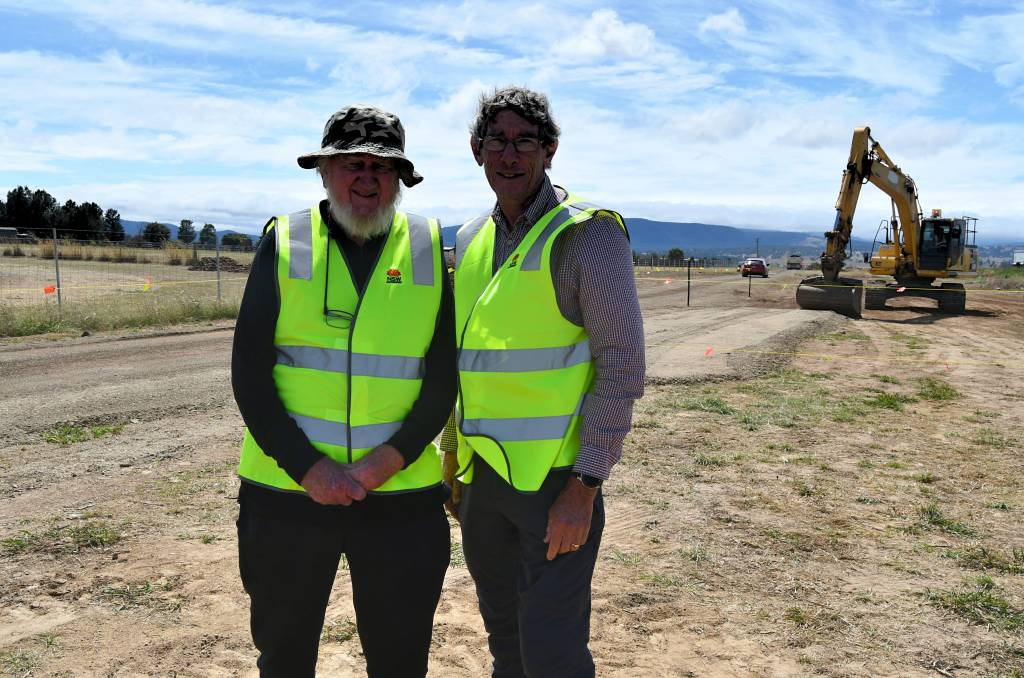 CONSULTANTS: Greening Bathurst members Dr David Goldney and Hugh Gould at the site of the Great Western Highway expansion in Raglan. Photo: RACHEL CHAMBERLAIN