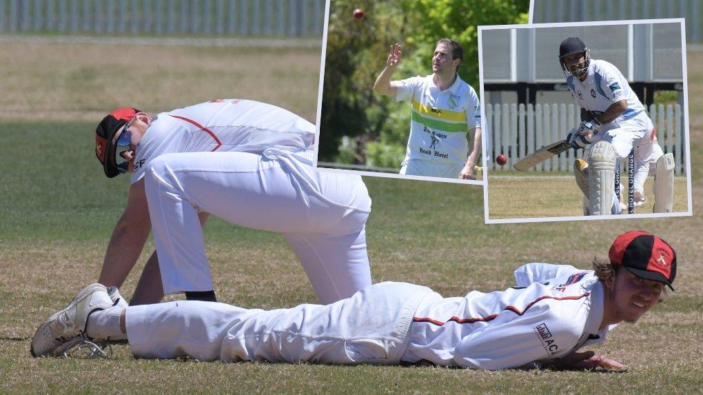 KEY ROUND: Centrals players watch on as this ball splits the slips while (inserts) Hugh Le Lievre and Russell Gardner had big days for their respective sides. Photos: JUDE KEOGH