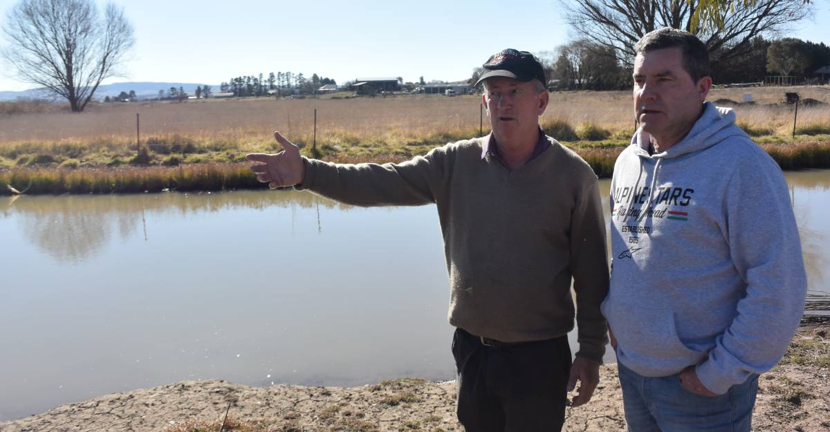 DAM PLAN: Councillors Bobby Bourke and Warren Aubin looking over the Kelso floodplains, behind Paddy's Hotel.