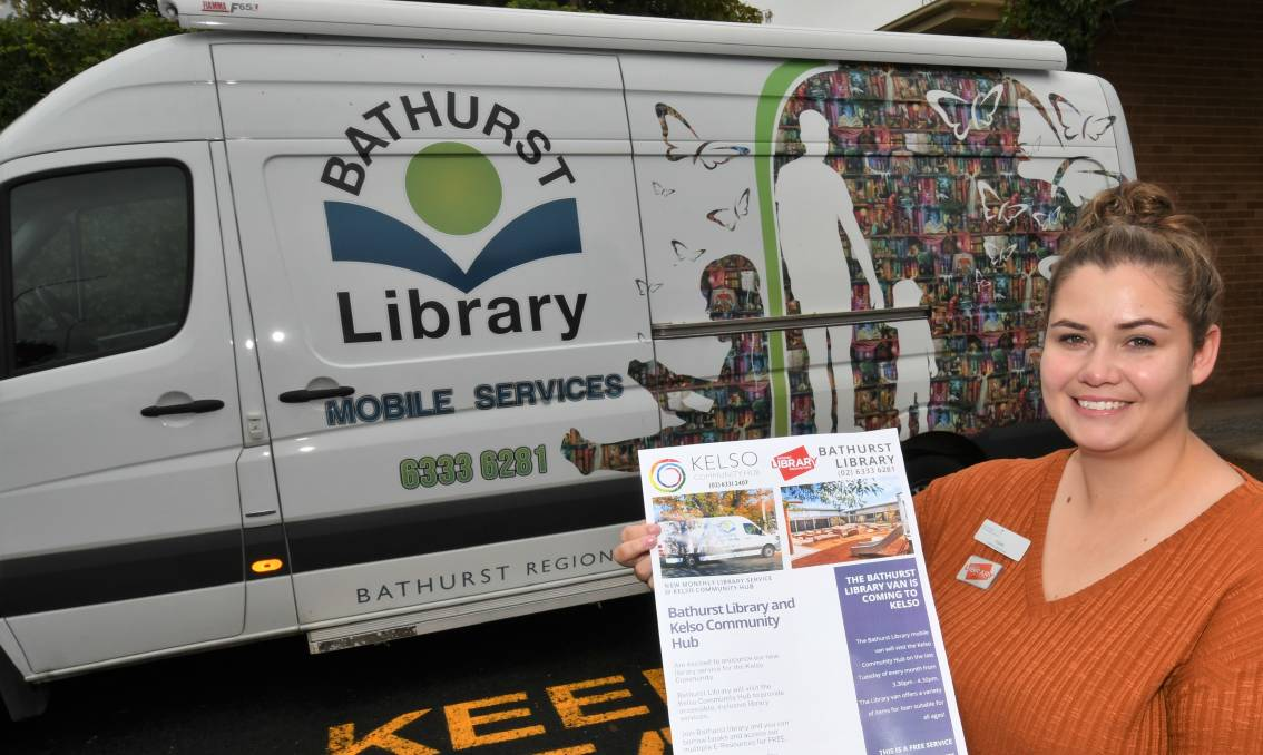 BOOK IT IN: Bathurst Library programs manager Tori Murray welcoming a new stop for the library's mobile service. Photo: CHRIS SEABROOK 032321cmobvan