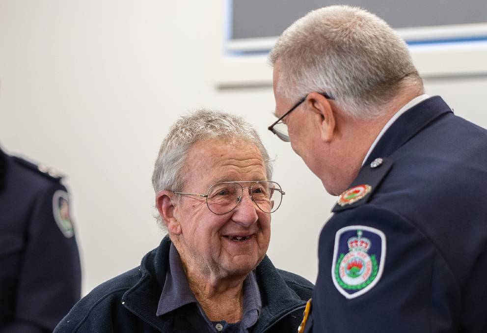 RECOGNISED: Ernst Holland being presented his 60 year Long Service Medal by NSW RFS Assistant Commissioner Steve Yorke in 2019. Photo: SUPPLIED