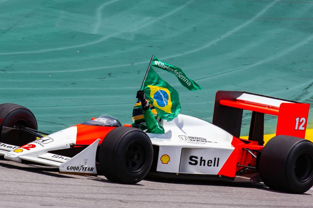 Bruno Senna demonstrating a McLaren MP4/4 his uncle Ayrton used in 1988. Photo: Shutterstock.