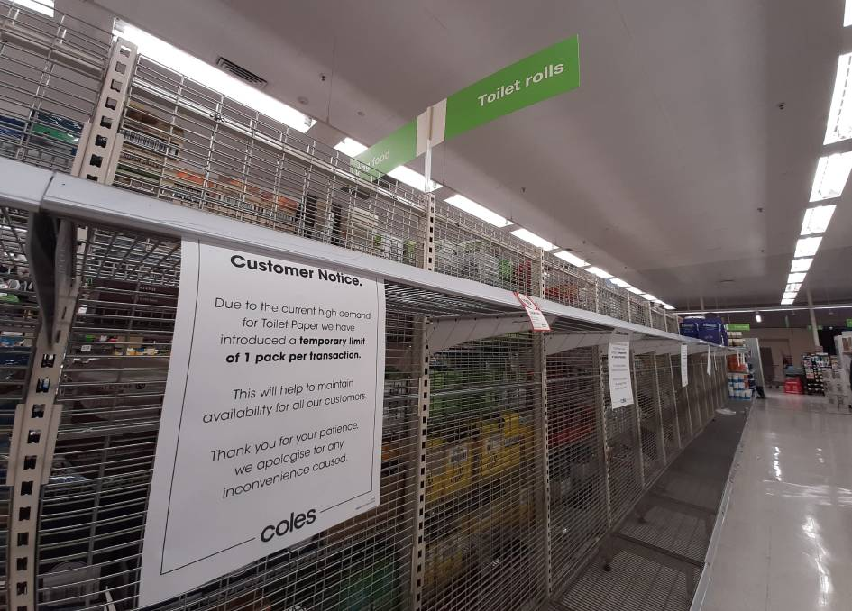 EMPTY SHELVES: It's getting harder to find toilet paper in Bathurst, as the shelves of the local Coles supermarket show.
