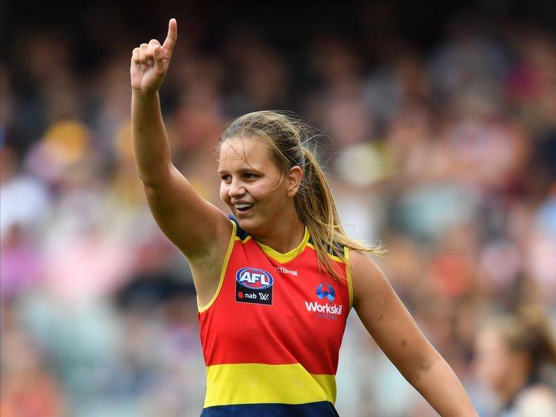 Danielle Ponter scored four goals for the Adelaide Crows as they thrashed the Gold Coast in AFLW.