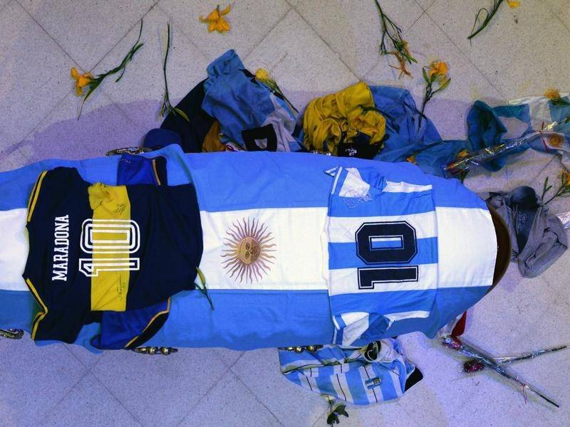 Diego Maradona's coffin lies in state at the funeral chapel of Buenos Aires' Casa Rosada palace.