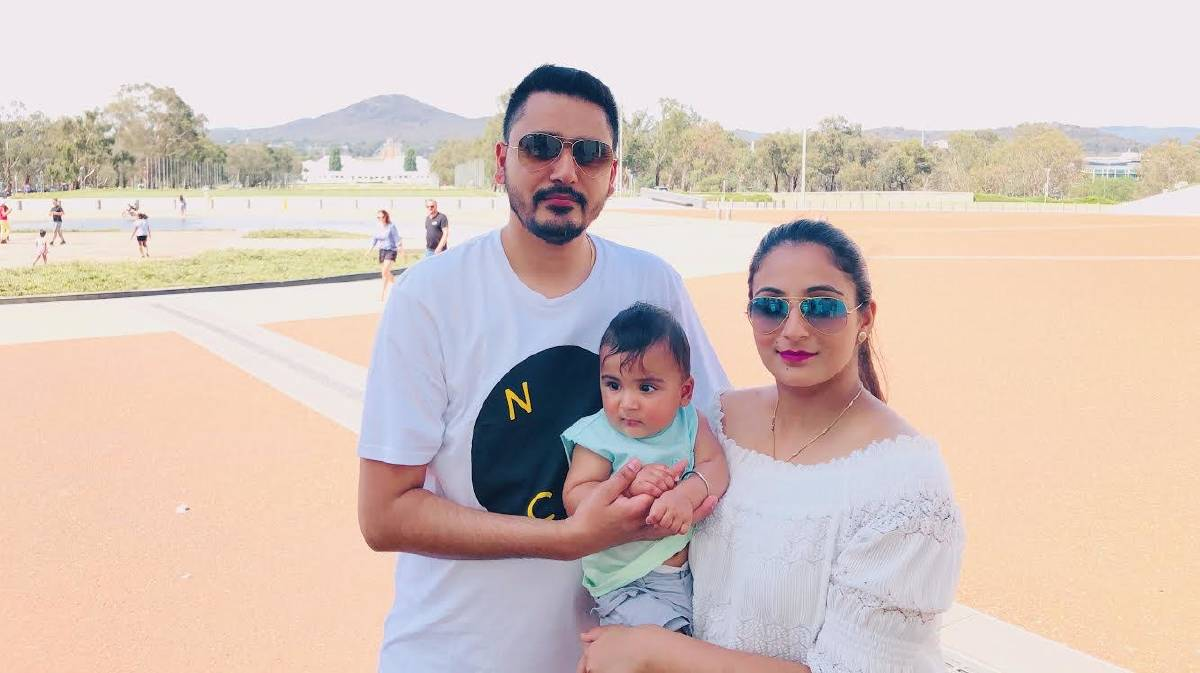Joyjit (left) and Jashan Sanghera with the son they last held on February 29, 2020. Picture: Supplied