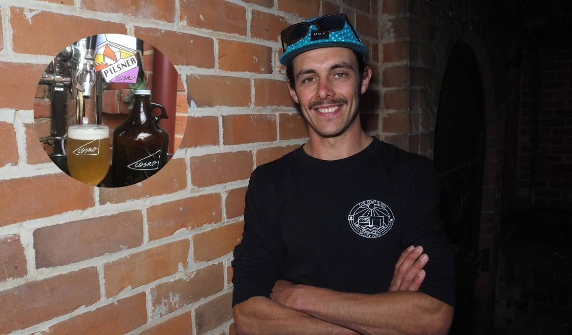 LOCAL BREW: Cosmo Brewing's Ian Carman is set to launch his debut beer [a pilsner, inset] at Church Bar next Monday. Photo: SAM BOLT