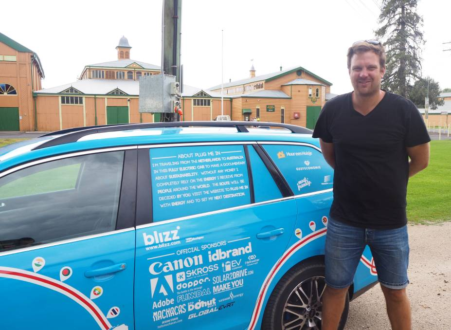 BLUE BANDIT: Dutch adventurer Wiebe Wakker travelled over 85,000 kilometres worldwide to reach Bathurst.