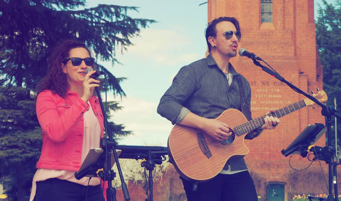 SHOW: Momentum [Lauren Hagney and Dave Webb] performing at Kings Parade last Friday as part of BizMonth's 'Musicians in the Park' event. Photo: SAM BOLT